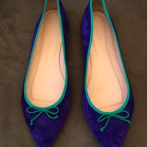 JCrew Purple suede flats trimmed in green